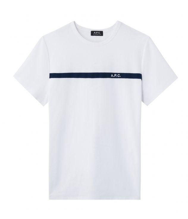 아페쎄 옴므 티셔츠 A.P.C. White Yukata T-shirt,DARK NAVY BLUE