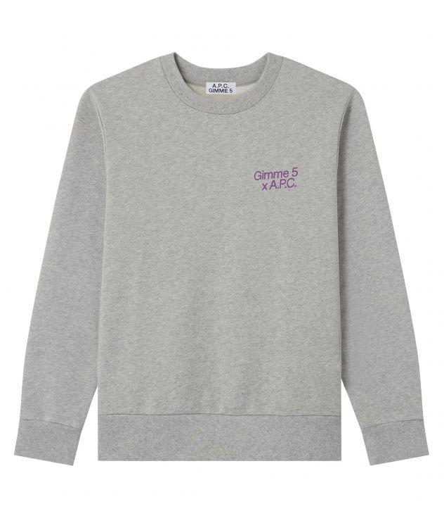 아페쎄 X 김미 파이브 콜라보 맨투맨 A.P.C. Gimme Five Eddy sweatshirt,HEATHER GREY