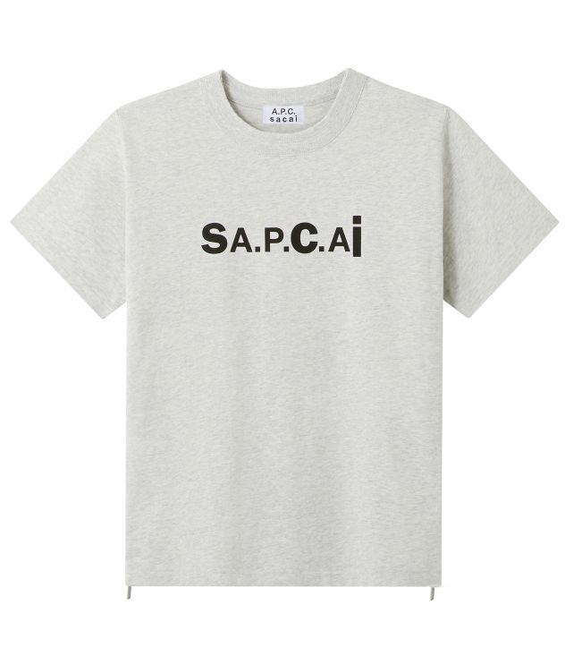 아페쎄 X 사카이 로고 티셔츠, 남녀공용 - 페일 헤더 그레이 A.P.C. X SACAI Kiyo T-shirt