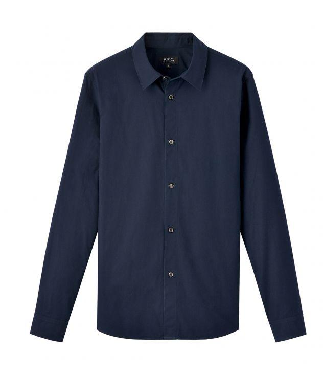 아페쎄 옴므 셔츠 A.P.C. Casual shirt,DARK NAVY BLUE